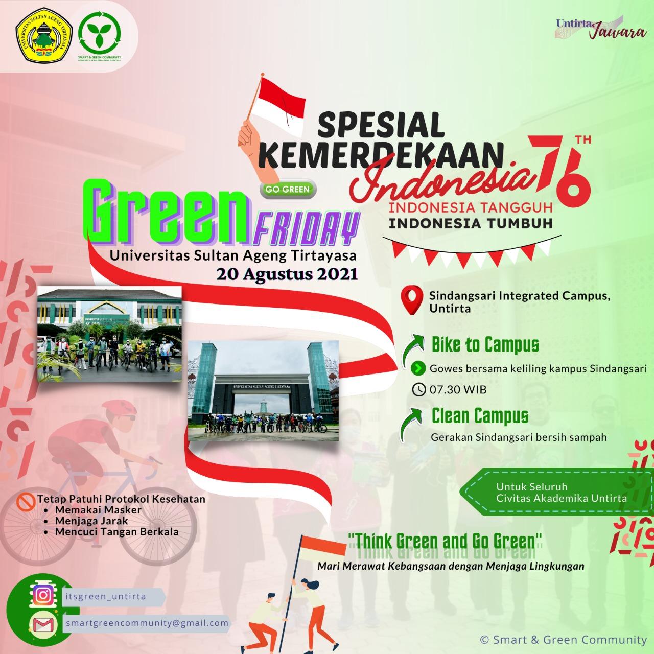 UNTIRTA Green Friday 20 Agustus 2021 (HUT 76 Tahun Republik Indonesia)