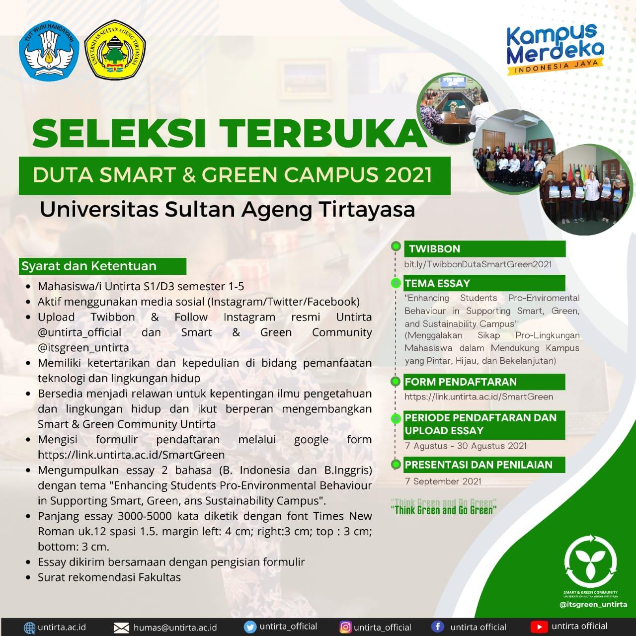 Seleksi Duta Sart and Green Untirta Tahun 2021